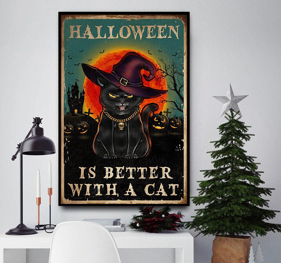 Halloween is better with a cat poster