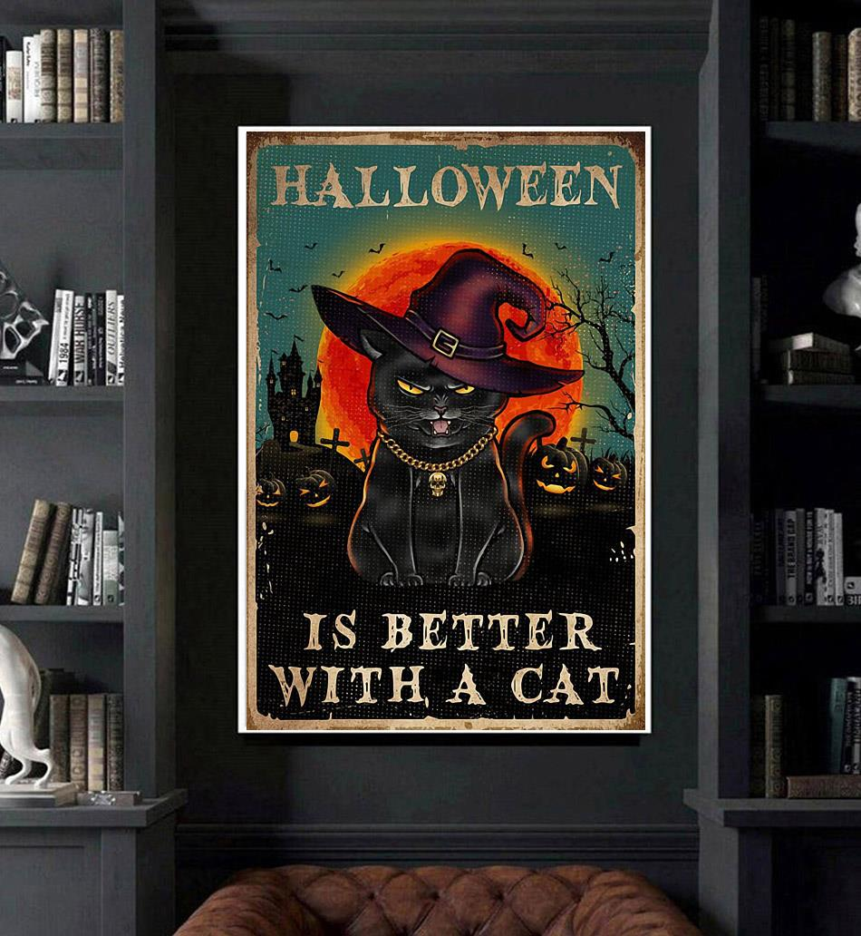 Halloween is better with a cat poster art