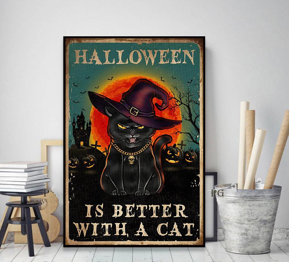 Halloween is better with a cat poster decor art