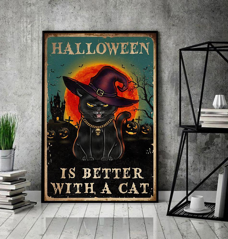 Halloween is better with a cat poster decor