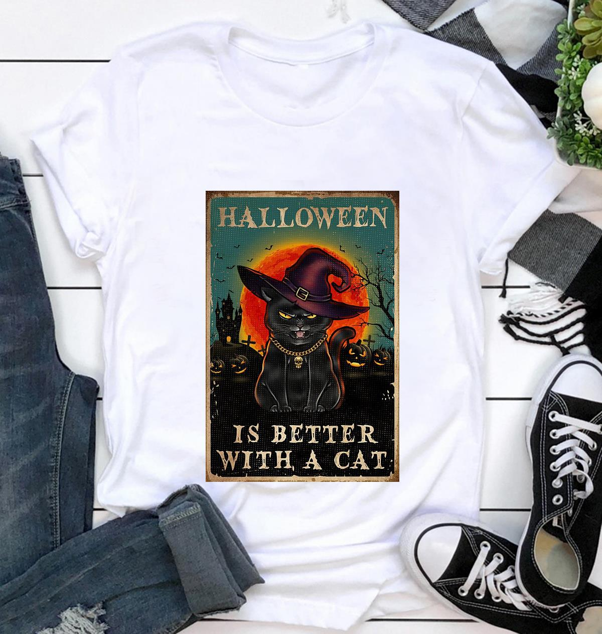 Halloween is better with a cat poster t-shirt