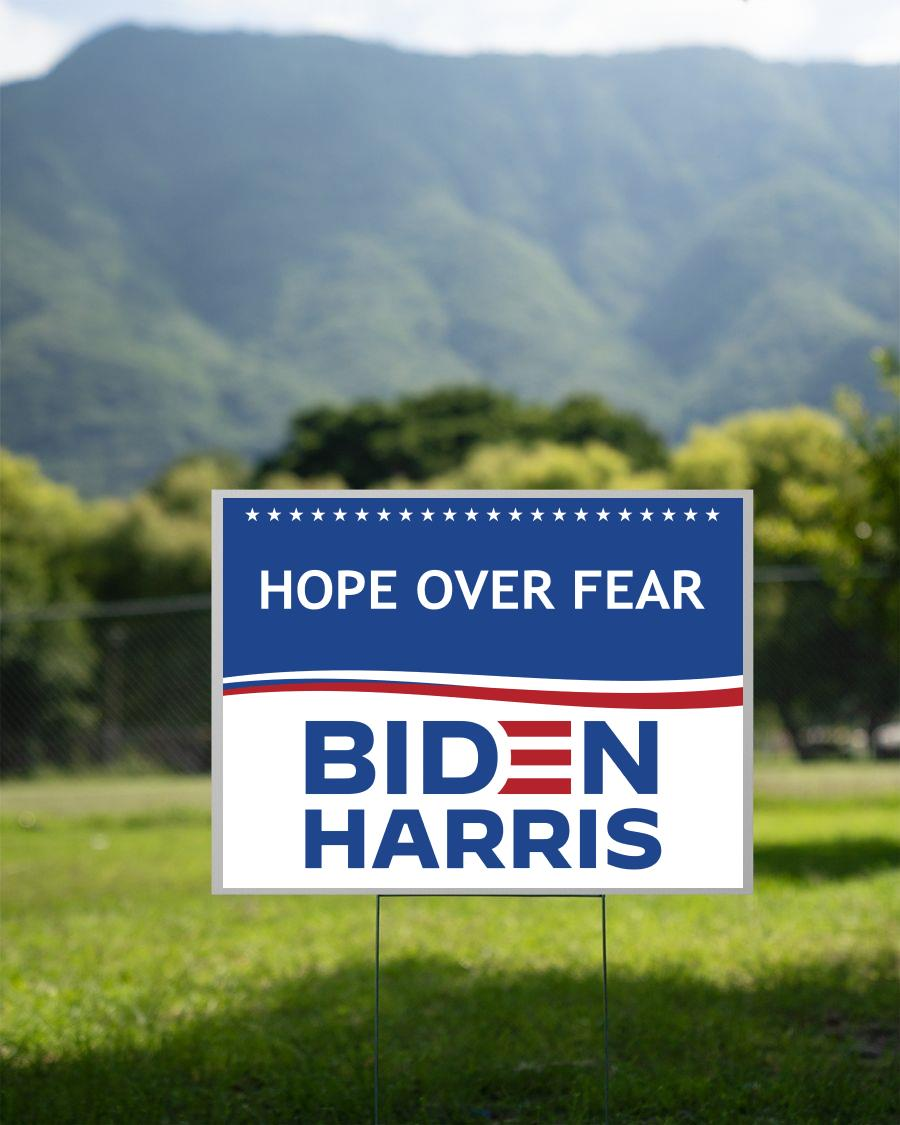 Hope over fear Biden Harris yard sign 2 sided