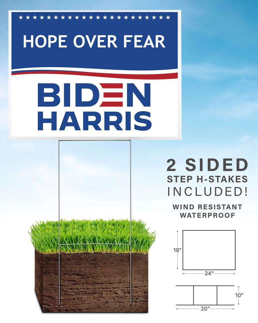 Hope over fear Biden Harris yard sign home