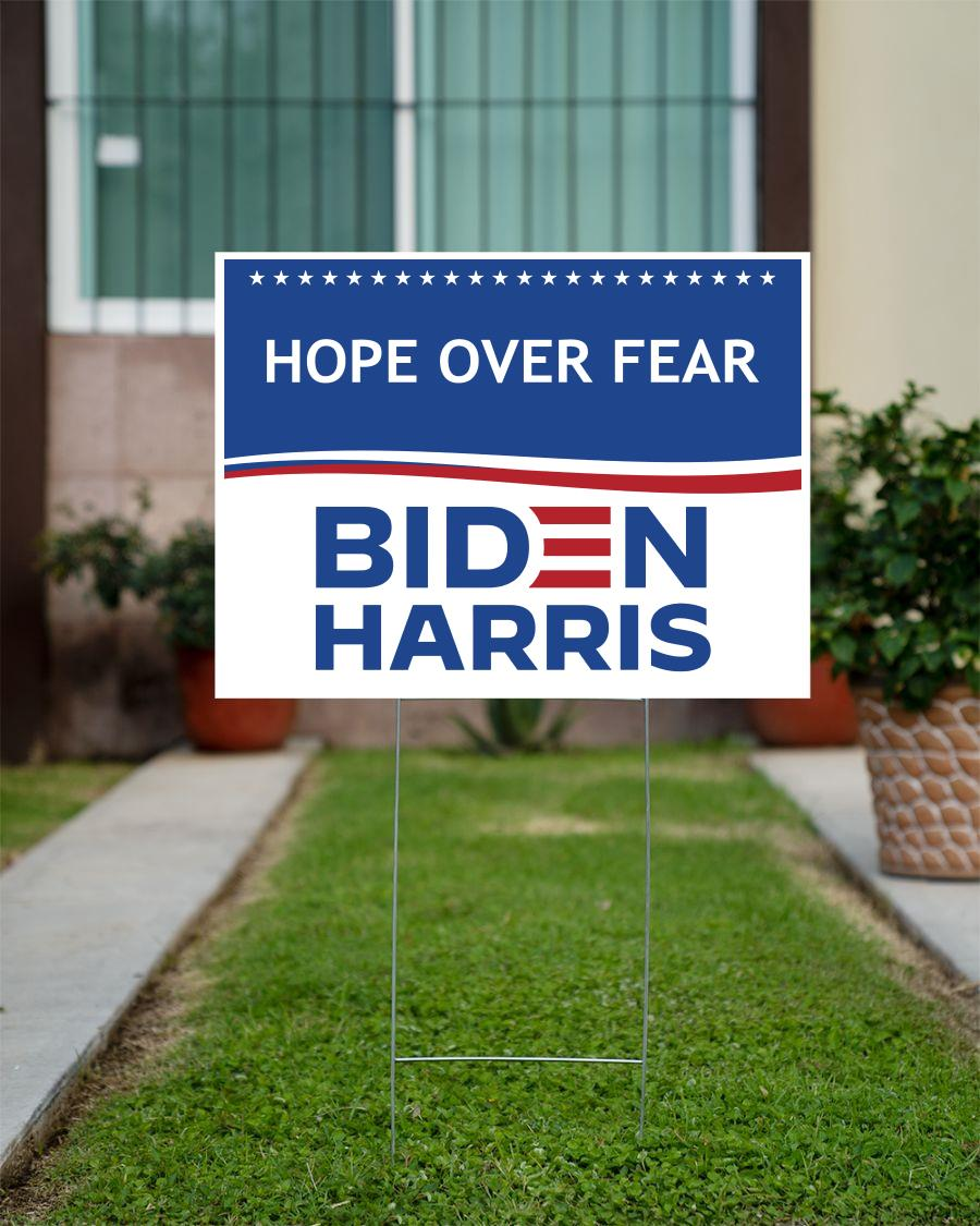 Hope over fear Biden Harris yard sign official