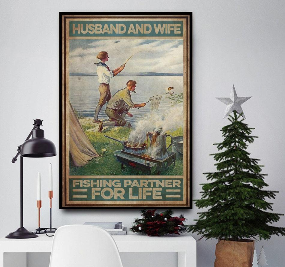 Husband and wife fishing partners for life poster