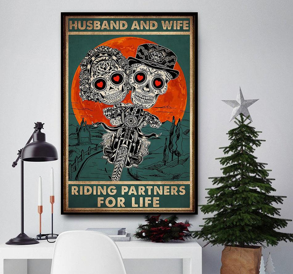 Husband and wife riding partners for life poster