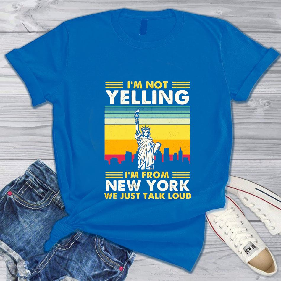 I'm not yelling I'm from New York vintage t-s blue