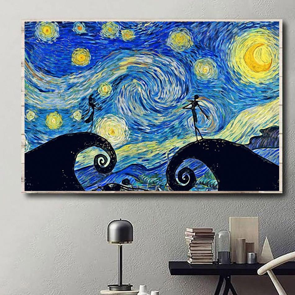Jack and Sally Starry Night horizontal canvas
