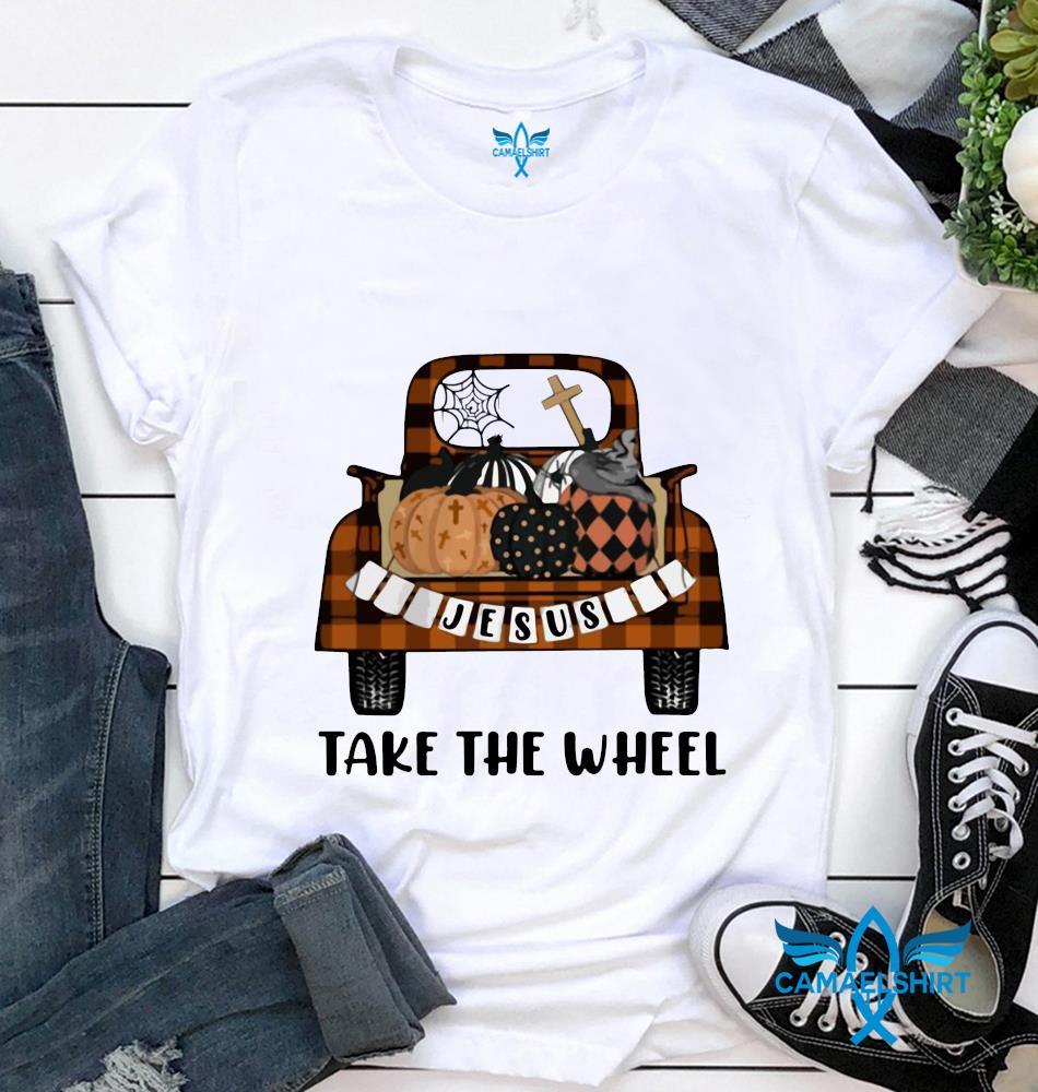 Jesus take the wheel pumpkin truck fall halloween t-shirt