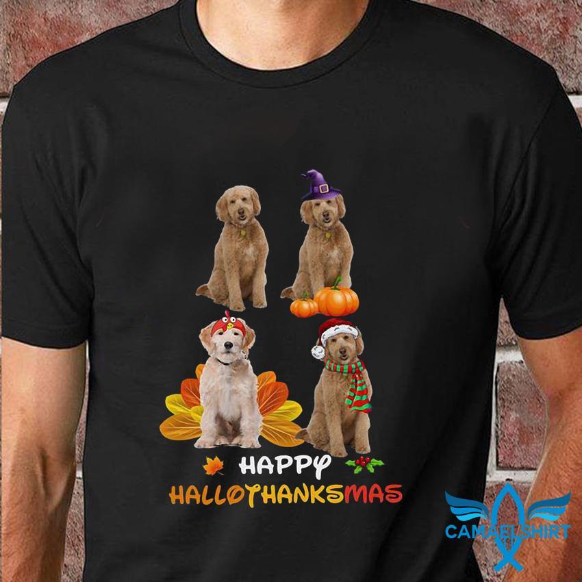 Labradoodle happy hallothanksmas t-shirt