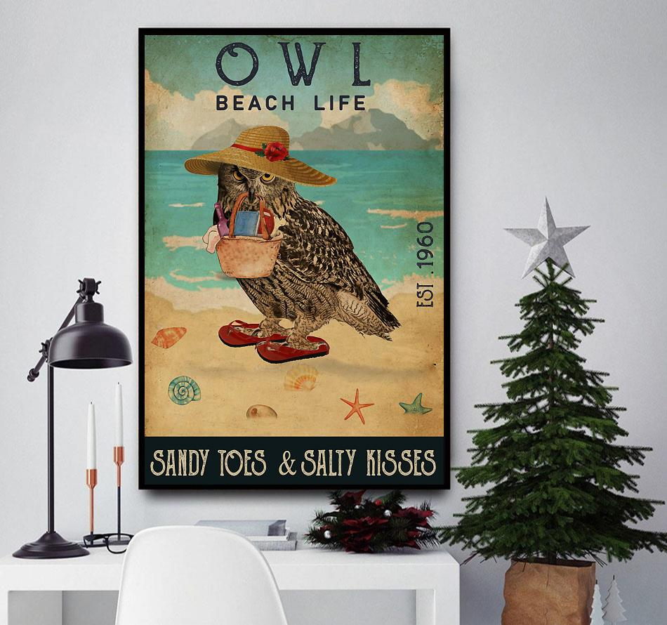 Owl beach life sandy toes and salty kisses poster canvas