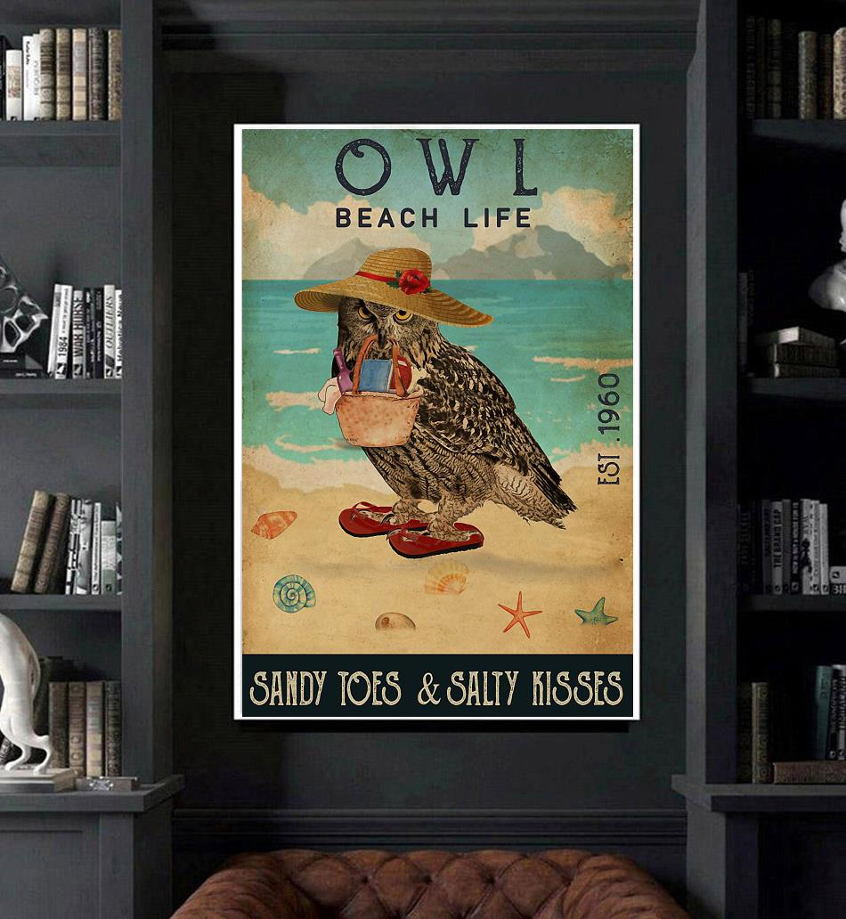 Owl beach life sandy toes and salty kisses poster canvas art