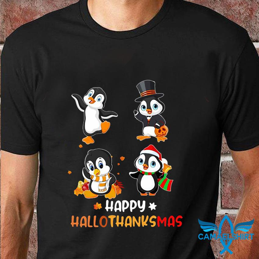 Penguins Happy Hallothanksmas t-shirt