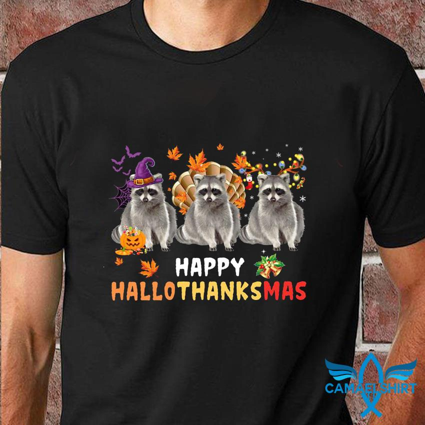 Raccoon happy hallothanksmas t-shirt