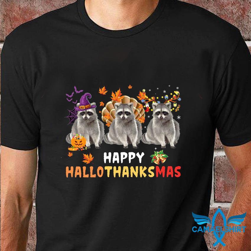 Raccoon happy hallothanksmas t-shirt