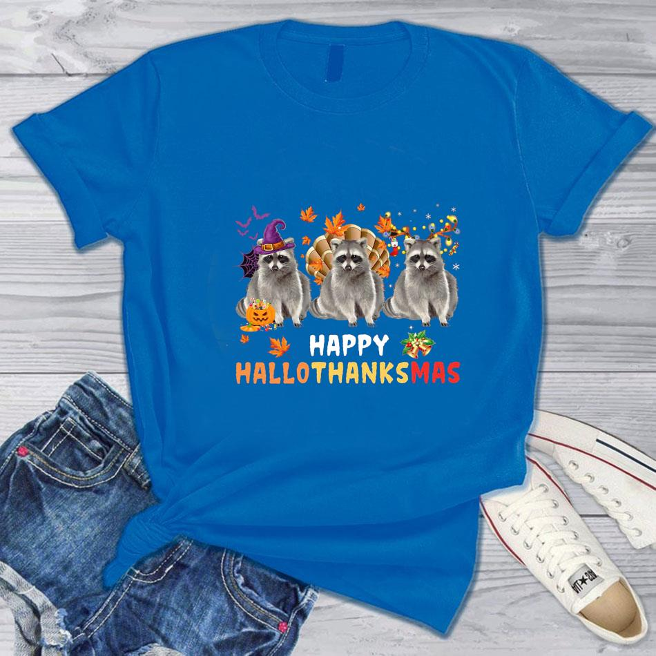 Raccoon happy hallothanksmas t-s blue
