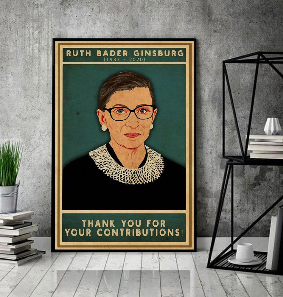 Ruth Bader Ginsburg thank you for your contributions poster decor