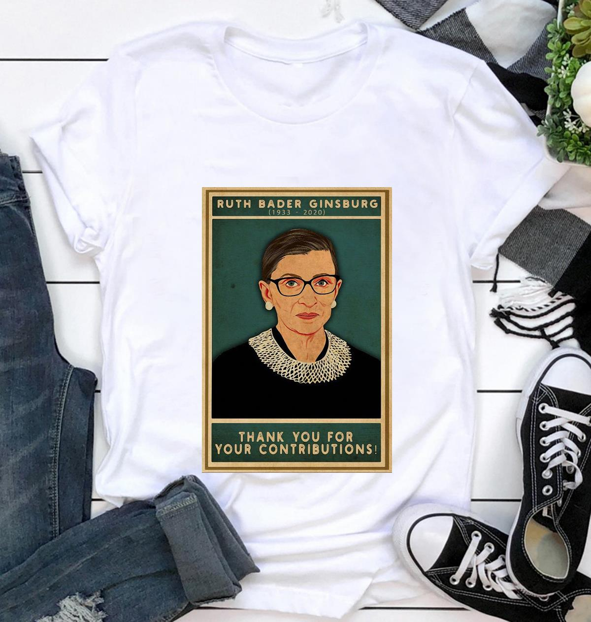 Ruth Bader Ginsburg thank you for your contributions poster t-shirt