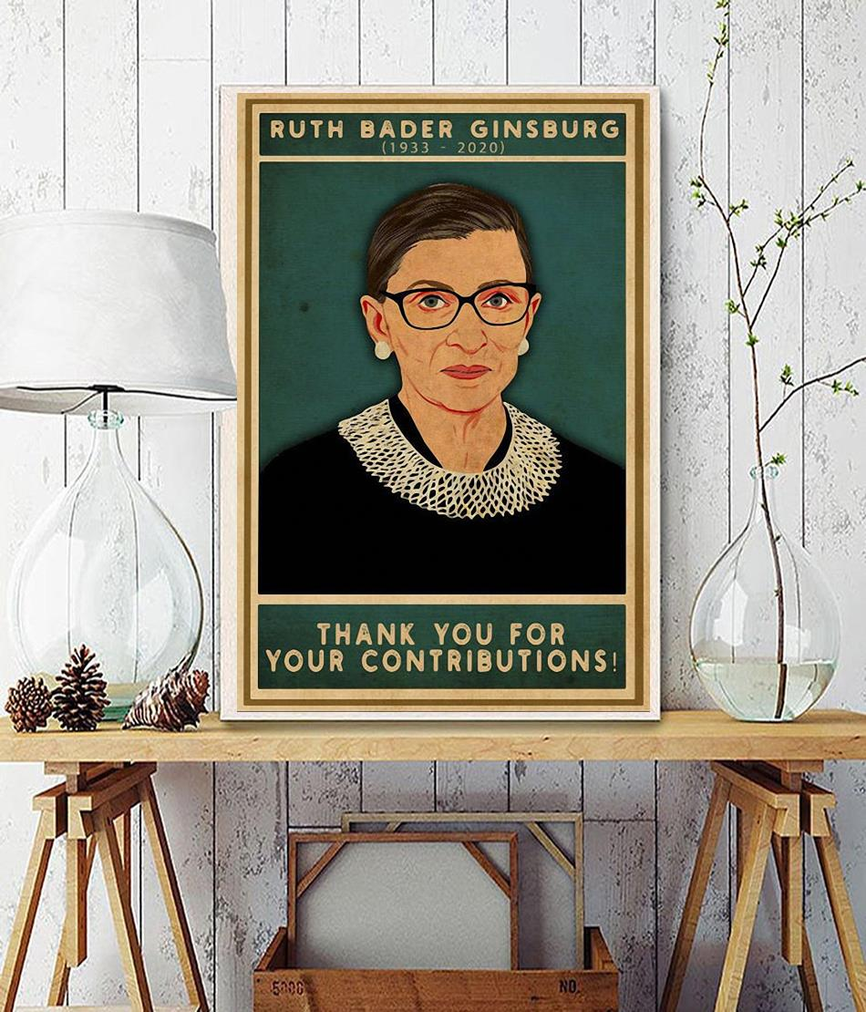 Ruth Bader Ginsburg thank you for your contributions poster wall decor