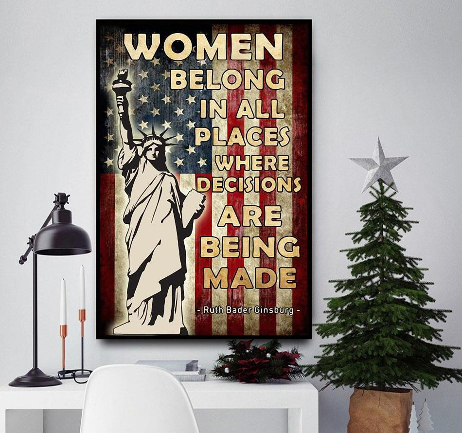 Ruth Bader Ginsburg women belong in all places poster