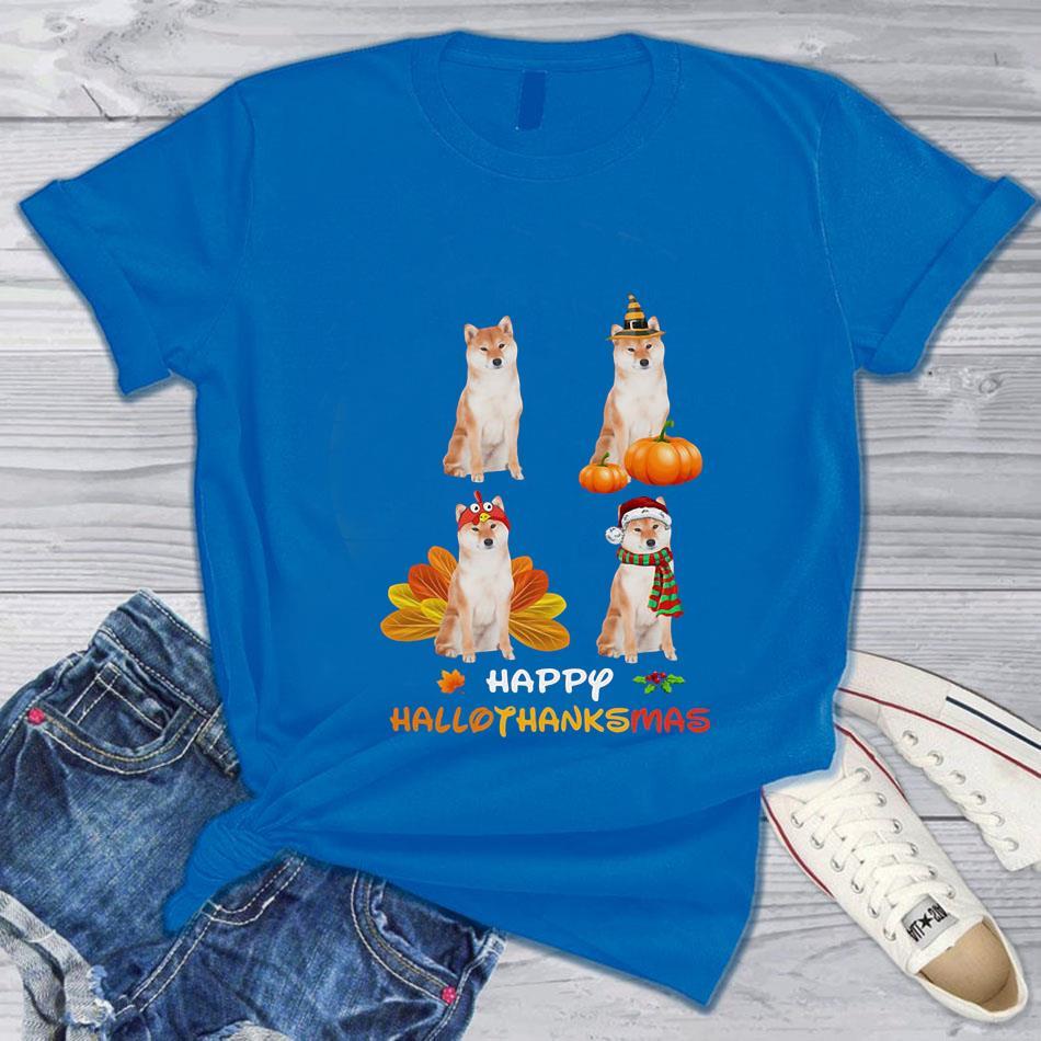 Shiba Inu happy hallothanksmas t-s blue