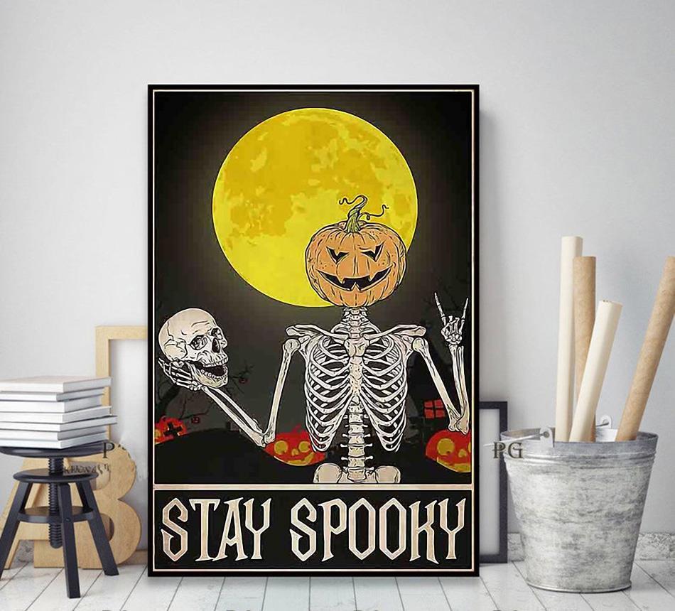 Skeleton stay spooky Halloween poster decor art