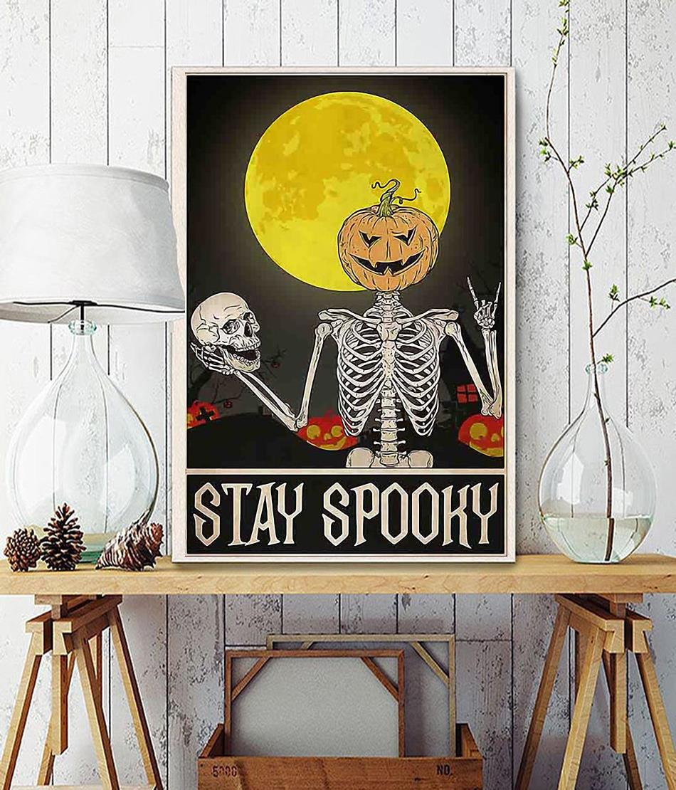 Skeleton stay spooky Halloween poster wall decor