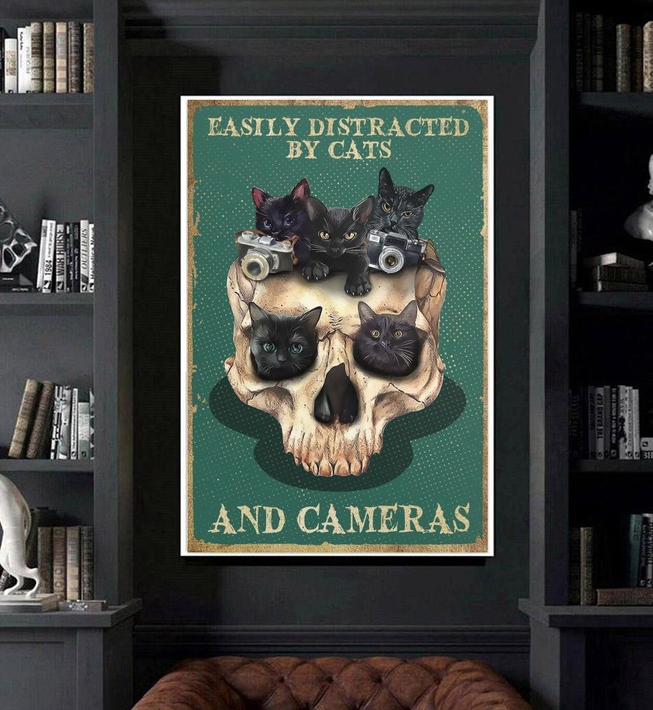 Skull easily distracted by cats and cameras poster art