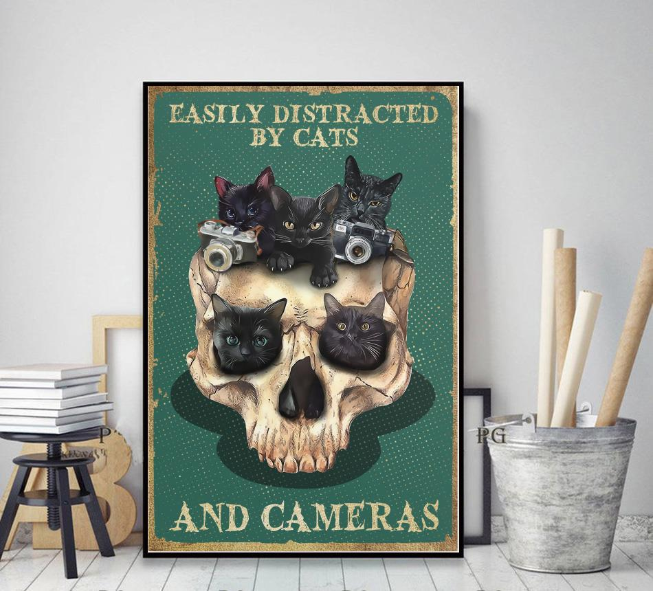 Skull easily distracted by cats and cameras poster decor art