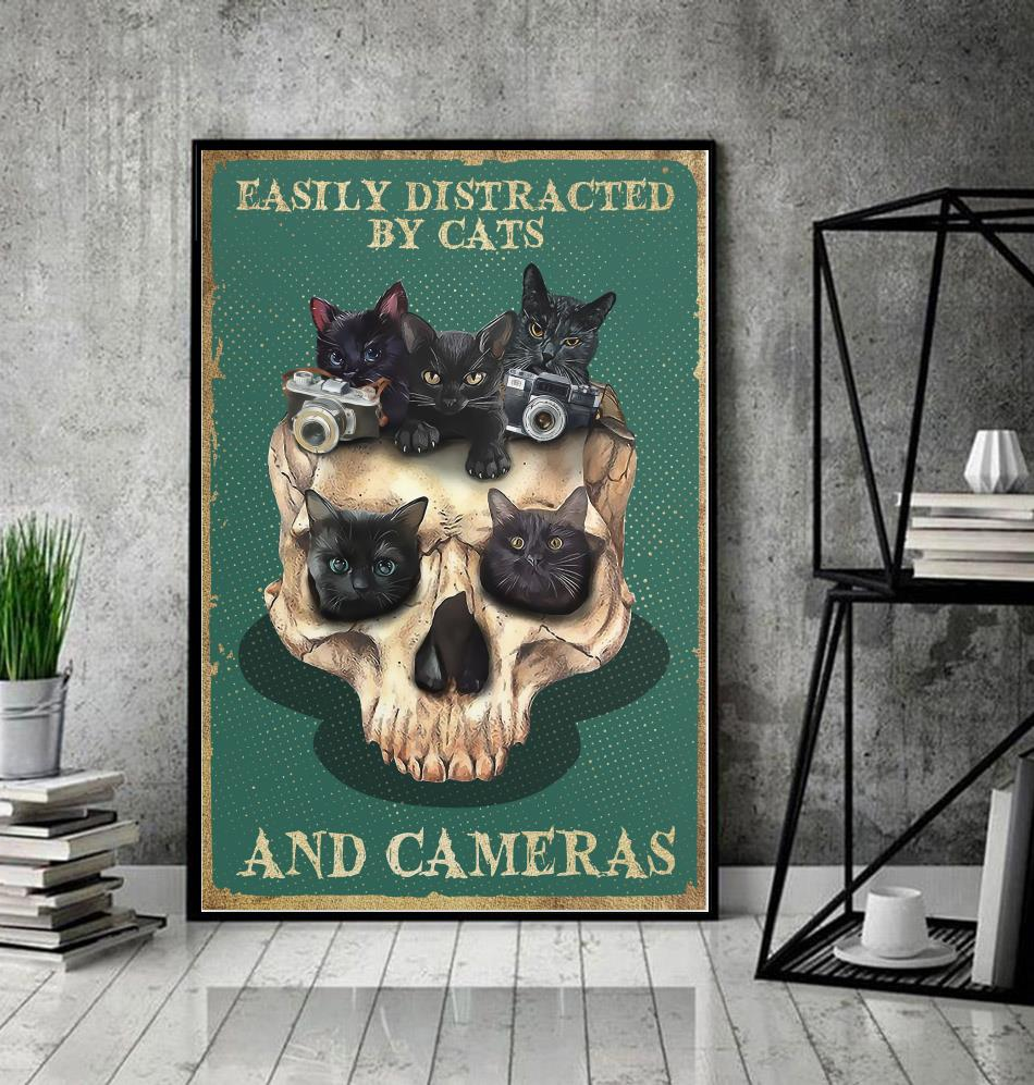 Skull easily distracted by cats and cameras poster decor