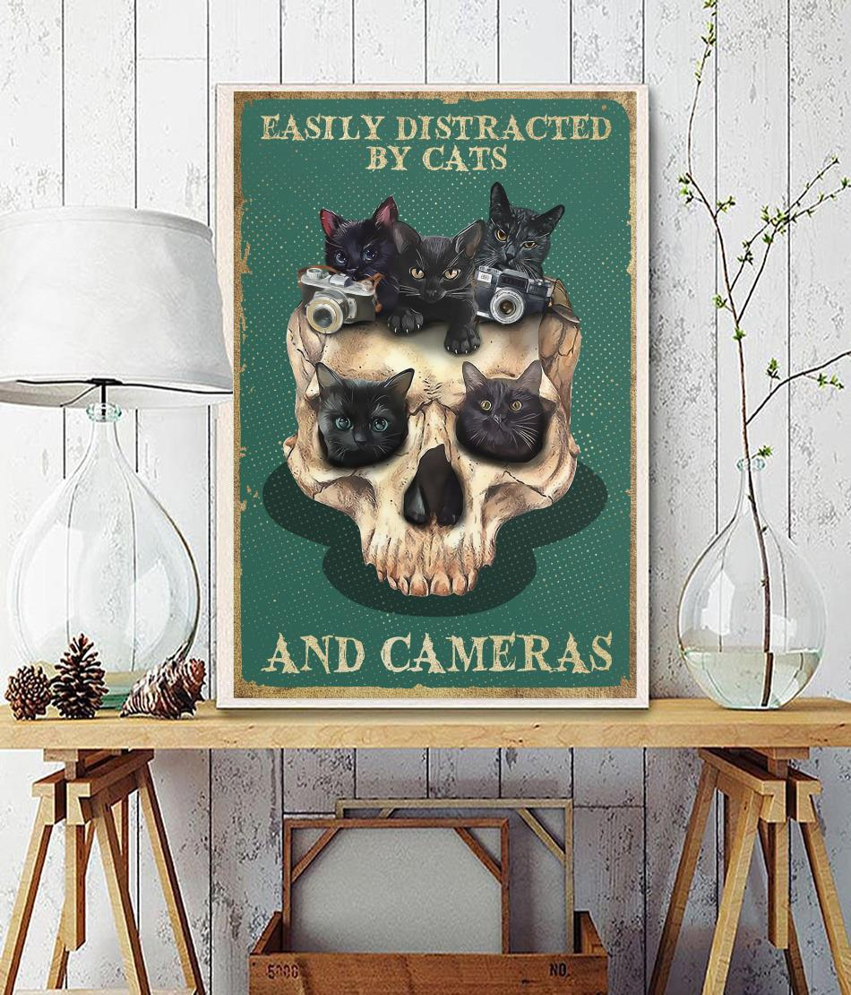 Skull easily distracted by cats and cameras poster wall decor