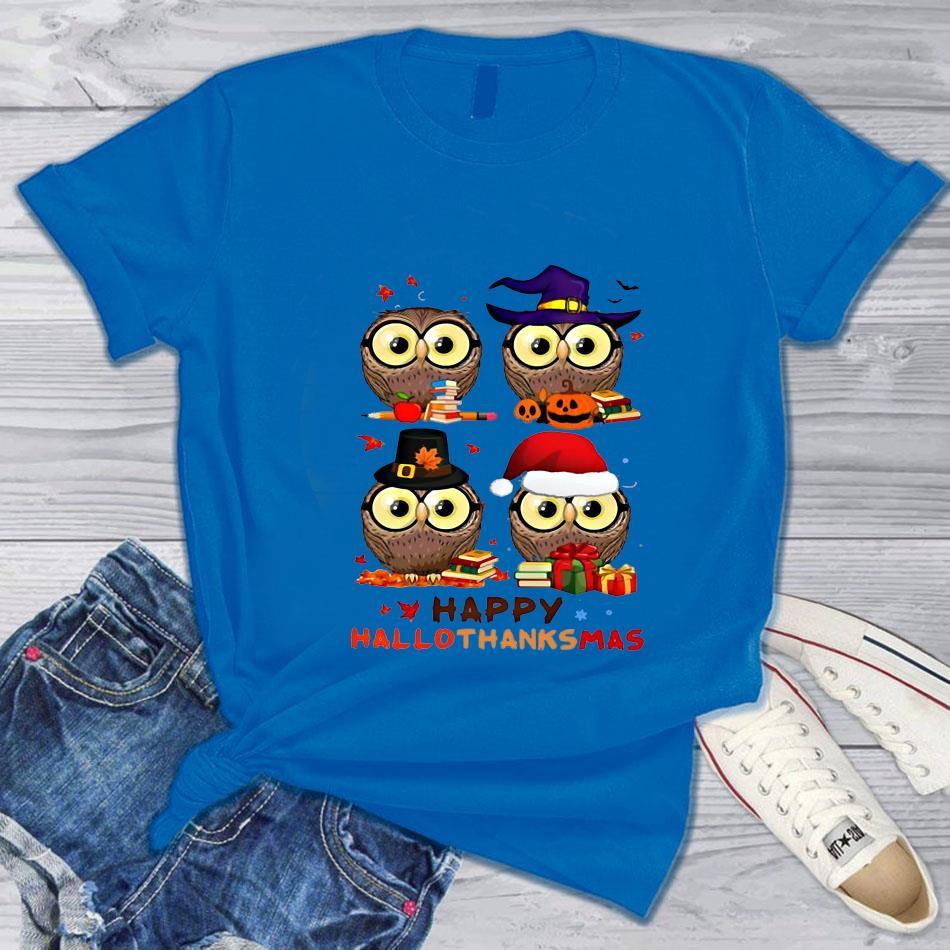 Teacher Owl happy hallothanksmas t-s blue