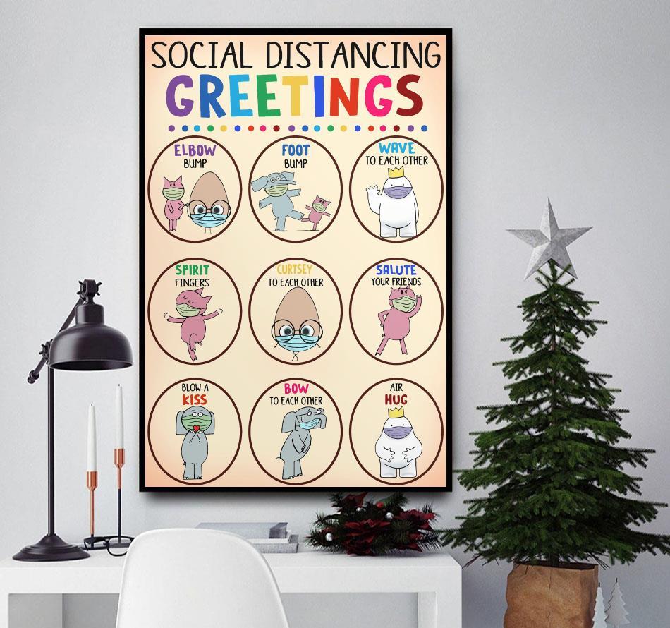 Teacher social distancing greetings animals poster