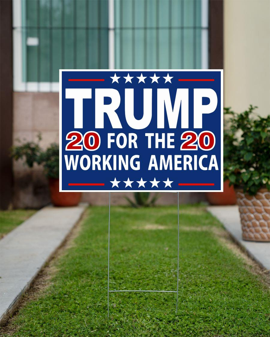 Trump 2020 for the working America yard sign official