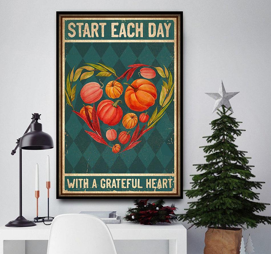 Vegetarian vegan start each day with a grateful poster