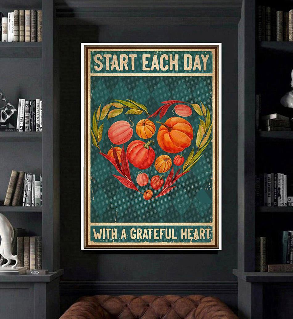 Vegetarian vegan start each day with a grateful poster art