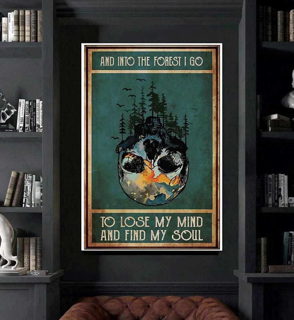 Vintage nature skull and into the forest poster art