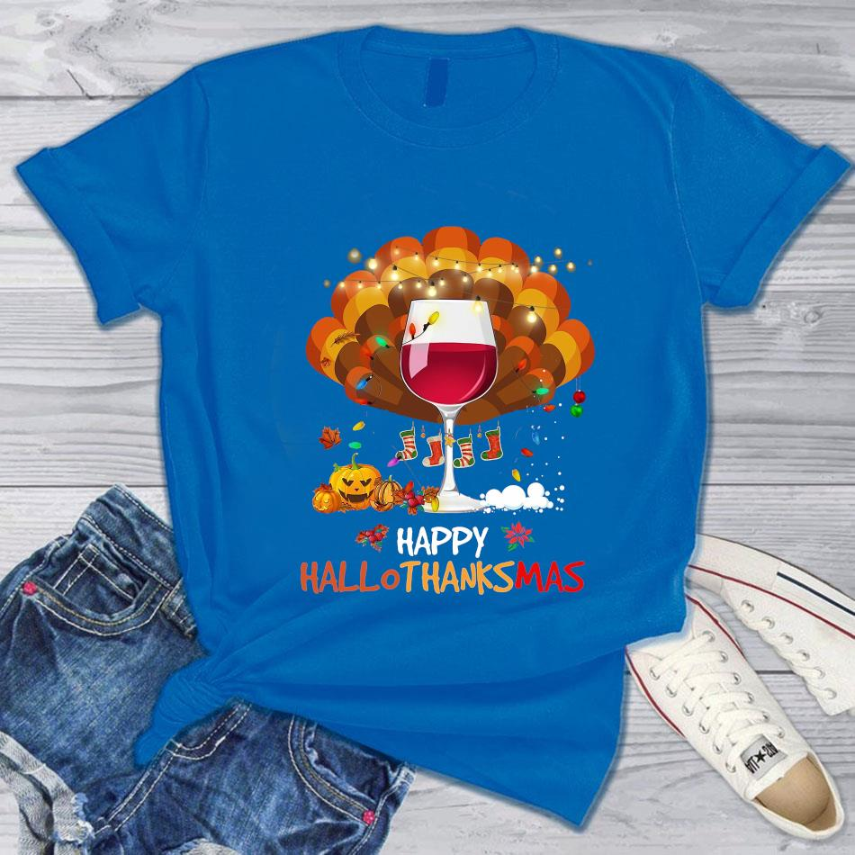 Wine turkey happy hallothanksmas t-s blue