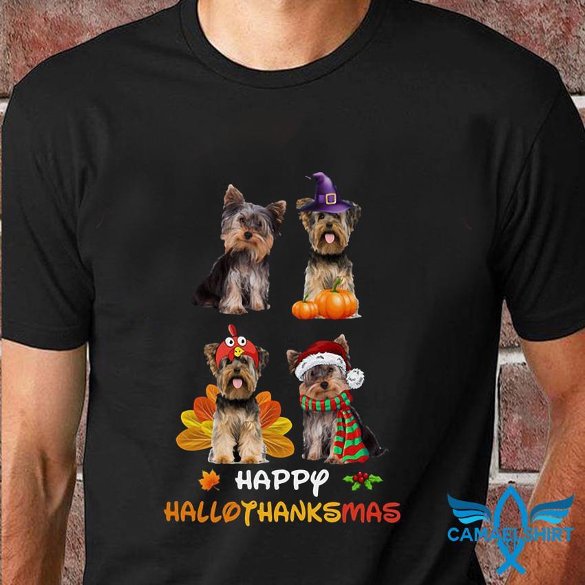 Yorkshire Terrier happy hallothanksmas t-shirt
