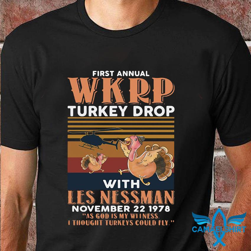 1st Annual WKRP Turkey Drop with les nessman vintage t shirt