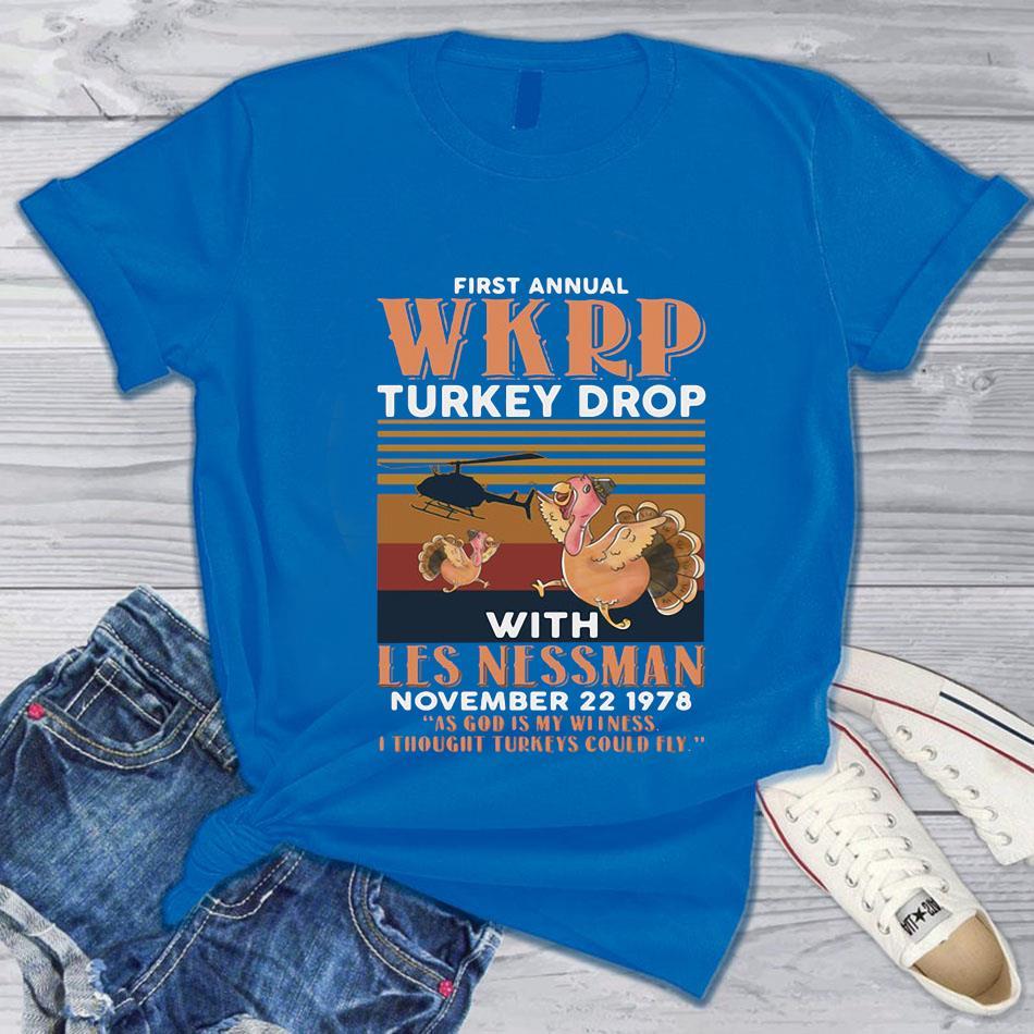 1st Annual WKRP Turkey Drop with les nessman vintage t s blue