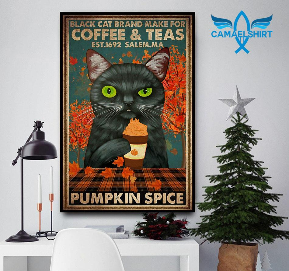 Black cat brand make for coffee and teas poster