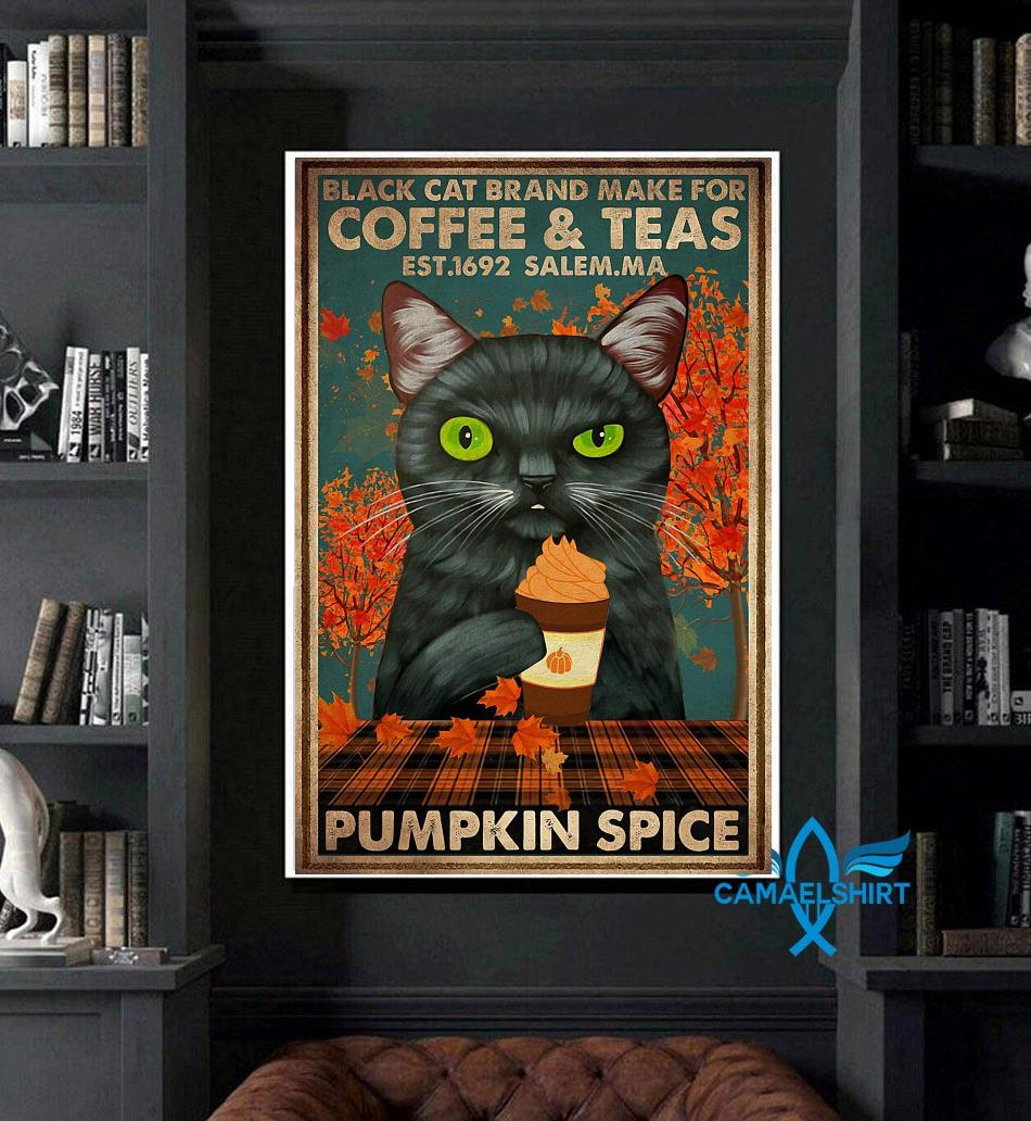 Black cat brand make for coffee and teas poster art
