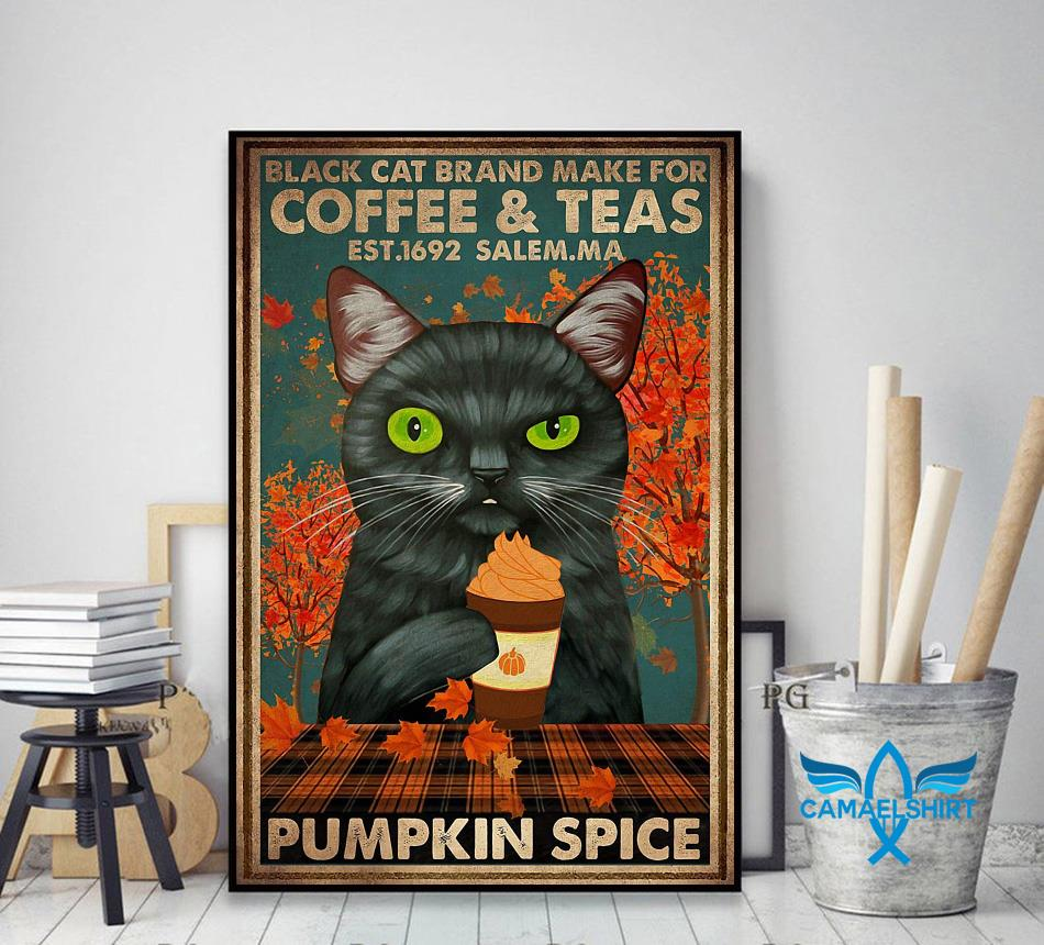 Black cat brand make for coffee and teas poster decor art