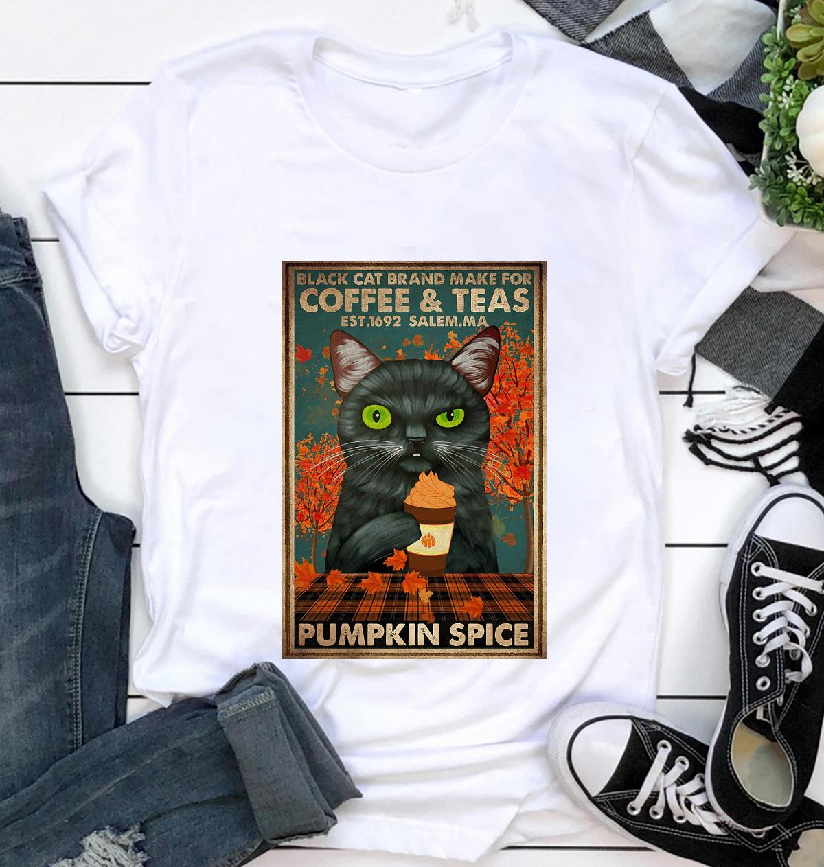 Black cat brand make for coffee and teas poster t-shirt