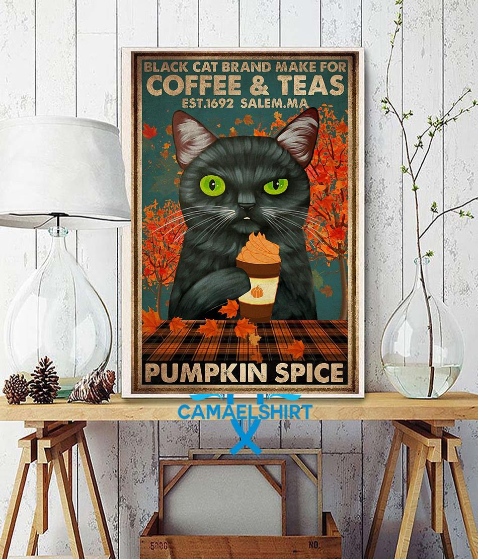 Black cat brand make for coffee and teas poster wall decor