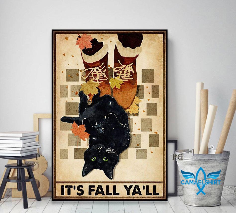 Black cat its fall y'all poster decor art