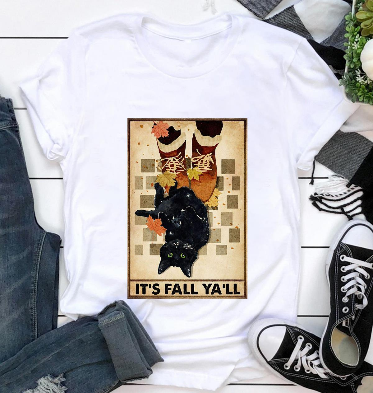 Black cat its fall y'all poster t-shirt