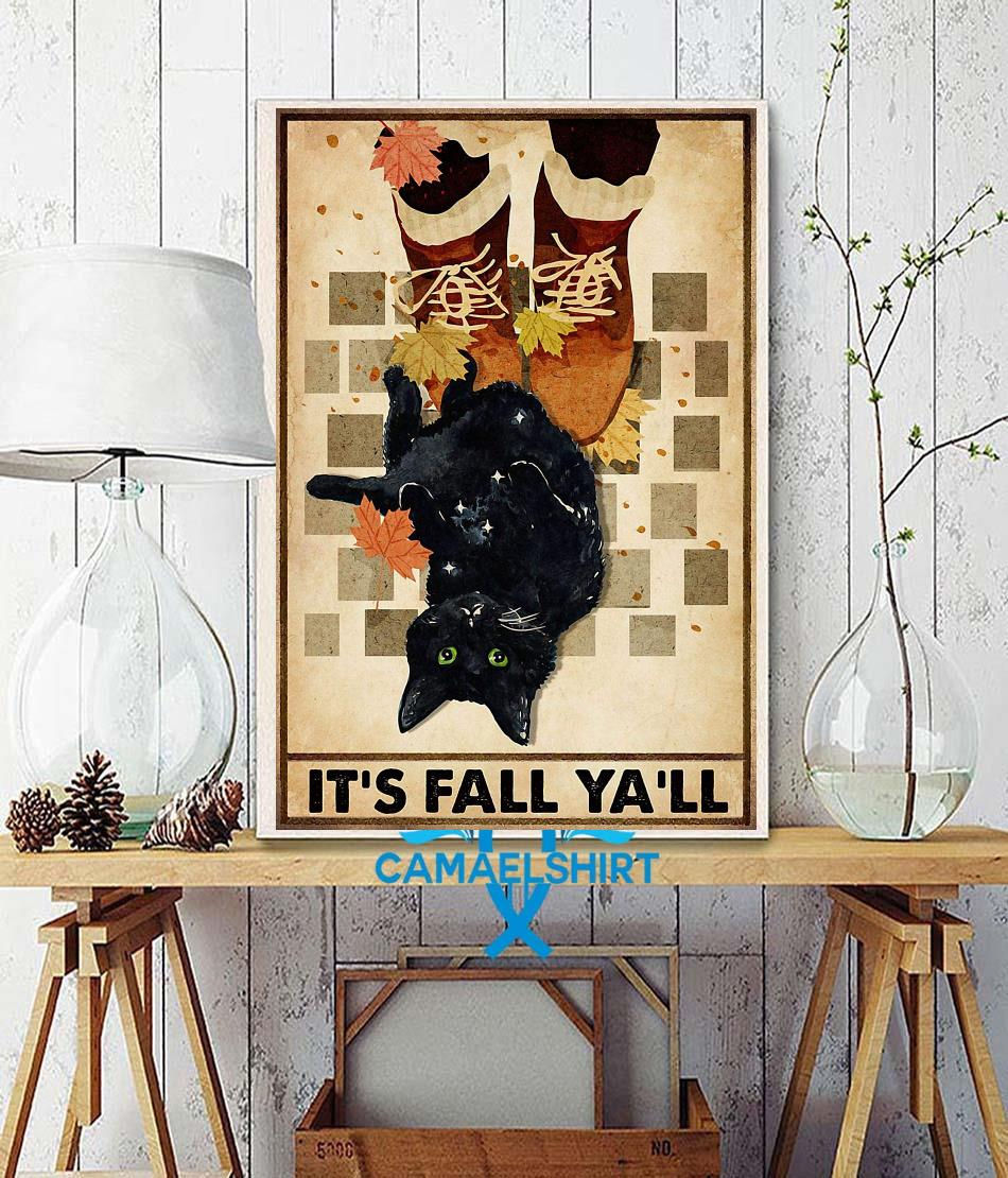 Black cat its fall y'all poster wall decor