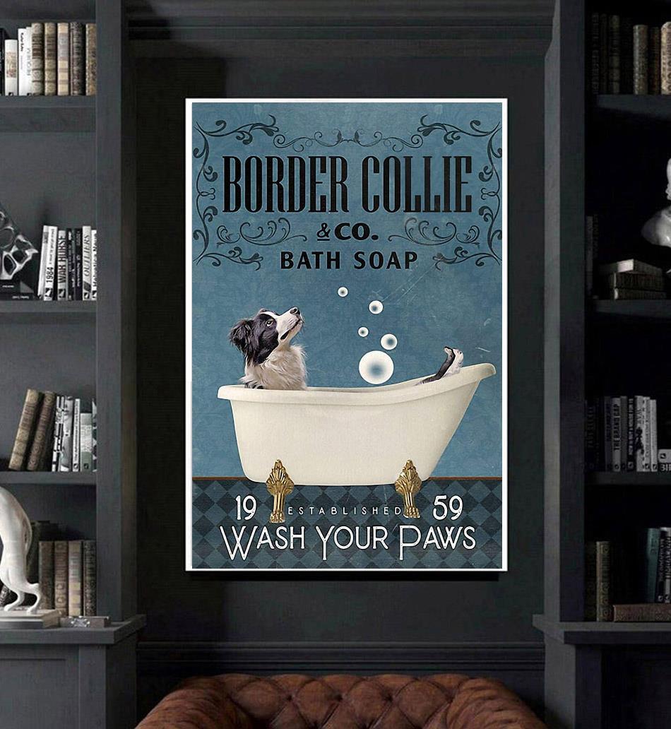 Border Collie Bath Soap wash your paws poster canvas art